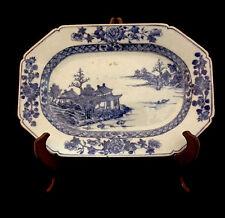 Chinese Blue & White Porcelain Platter W 00004000 Ith Batavian Edge C. 1770