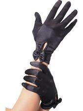 Gants noirs courts en satin petit noeud poignet sexy pinup glamour sexy sensuel