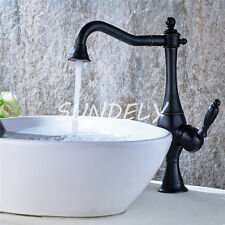 Tall Black  Antique Copper Bathroom Sink Faucet Lavatory Wash Basin Mixer Taps