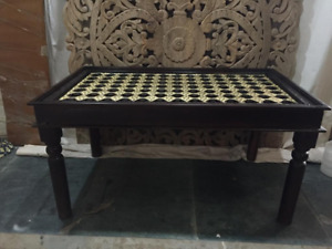 MADE TO ORDER Brass Work Indian Solid Wood Dining Table Brown B 150x90x75