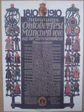 München 1910 Oktoberfest Plakat Festprogramm Ablauf Poster Reklame Wiesn RP