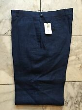 NWT Palm Beach Mens Navy Blue Linen Dress Pant Regular Flat Front Size 40/32