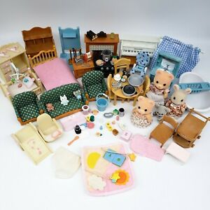 Calico Critters Sylvanian Epoch Furniture Accessories Lot Kitchen Bathroom Beds