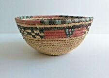 Handmade African Brown, Red, Blue Straw Basket Bowl Medium