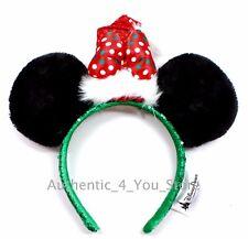 New Disney Mickey Minnie Ears Sequin Santa Hat Christmas Headband w/ Bow Holiday