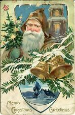 1909 Christmas Santa Carrying Tree Wearing Brown Suit Embossed Tuck Postcard