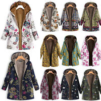 Womens Winter Thick Outwear Floral Fleece Lined Hooded Warm Pockets Coat Jacket