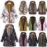 Womens Winter Thick Outwear Floral Fleece Lined Hooded Warm Pockets Coat Jacket