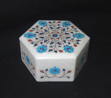 Marble Hexagon Jewelry Box Turquoise Floral Inlay Art Semi Precious Decor Gifts