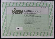 1 Aktie über 50 DM: Vereinigte Deutsche Nickel-Werke AG. 1992. entwertet