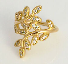 Genuine Pandora Sparkling Leaves Silver Ring Sz 52 14K Gold Plated 190921CZ
