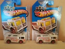 2013 Hot Wheels HW City Fire-Eater Treasure Hunt 19/250 Red 5SP Rescue Truck x 2