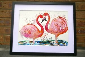 Two Colourful  Flamingos  watercolour painting size A3 Casimira Mostyn