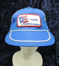 Vintage I LOVE PUERTO RICO Patch Mesh Back Blue White Trucker Cap Hat