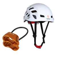 Climbing Helmet Safety Mountaineering Rappelling Protect Gear + Belay Device