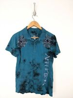 Affliction Polo Shirt Men Small Blue Black Cross Live Fast Graphic