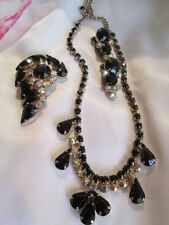 Vintage 50's Black Crystal Rhinestone Gold-tone Brooch Necklace ERs Jewelry Set