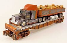 O LIONEL FLAT CAR CUSTOM LOAD TRACTOR TRAILER SEMI TRUCK CRATES BOXES PARTS GIFT
