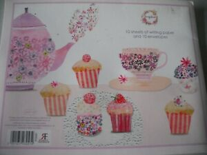 Relax With a Cup of Tea & Cupcake 10 Sheets Writing Paper & Envelopes Letter Set