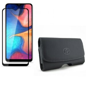 Galaxy A50/A20 - Leather Case Belt Clip w Tempered Glass Matte Screen Protector