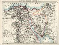 Antique Map Of Egypt Suez Canal  Cairo Sinai Johnston 1892