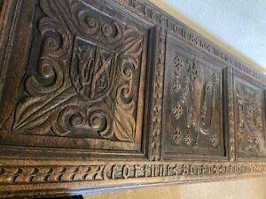 Antique carved oak large trunk chest dated 1538