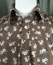 """Ted Baker 100% Cotton Brown Floral Shirt Size 4 Large 16"""" C42"""""""