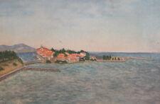 Vintage landscape seascape watercolor painting
