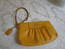 Coach Large Wristlet Clutch Sunny Yellow Genuine Leather 41978 Excellent