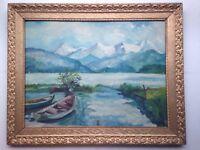 Tableau Impressionniste Paysage de Montagne Lac d'Annecy Huile signé MAURICE XXe