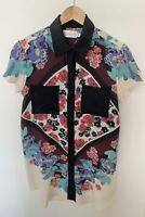SHAKUHACHI Womens 100% Silk Short Sleeve Coloured Floral Longline Top - Size 8
