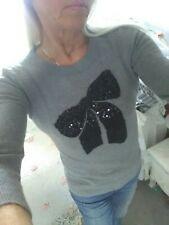 Fab J CREW grey sweater black sequin bow merino wool mix XS/S VGC