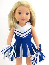 """Blue Cheerleader Dress Pom Poms Fits Wellie Wishers 14.5"""" American Girl Clothes"""