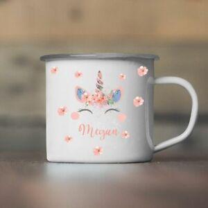 Personalised Unicorn Tin Camping Mug/Cup Tea Gift Custom Cute Hers Xmas Present