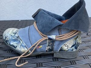 Air Step TMA EYES BLUE Denim WASH Laced LEATHER BOOT Germany Size 9