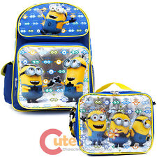 """Despicable Me Minions 16"""" School Backpack Lunch Bag 2pc Set - Eyes"""