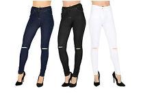 New Women Girls Ripped Knee Cut Skinny Fit Jeans Jeggings Leggings 8 to 16