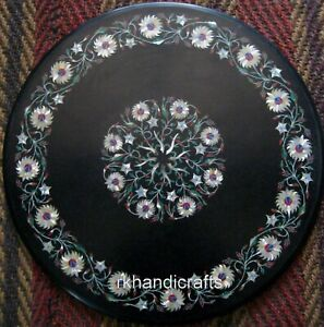 Mother of Pearl Art Inlay Coffee Table Top Round Marble Center Table 24 Inches