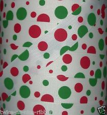 "5 Yards 7/8"" CHRISTMAS JUMBO DOTS RED GREEN GROSGRAIN RIBBON 4 HAIRBOW BOW"