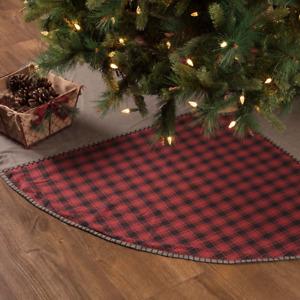 "Andes Christmas Tree Skirt 60"" Diameter Red Black Buffalo Check Farmhouse Lodge"