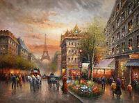Dream-art Oil painting impressionism art Paris street scene Eiffel Tower canvas