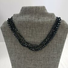 Black Faceted Rhinestone Bead Multi Strand Choker Statement Necklace