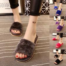 Womens Ladies Slipper Slip On Sliders Fluffy Fur Slippers Flip Flop Sandals UK
