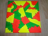 """Hand Painted 12"""" by 12"""" Modern Abstract Canvas Acrylic Paint Neon"""