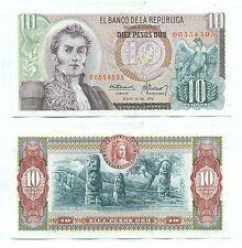 COLOMBIA NOTE 10 PESOS ORO 1974 P 407e UNC