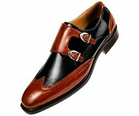 Mens Smooth Faux Leather Double Monk Strap Formal Oxford Wingtip Dress Shoes