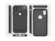 iPhone X Cover, Carbon Fibre Protective Case. Black Shockproof Rugged Silicone