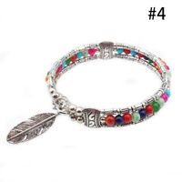 Boho Vintage Feather Turquoise Tibetan Silver Bangle Women Gypsy Bracelet New