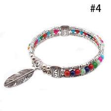Damen Retro Türkis Feder Gypsy Bohemian Armband Armreif Armbänder Modeschmuck