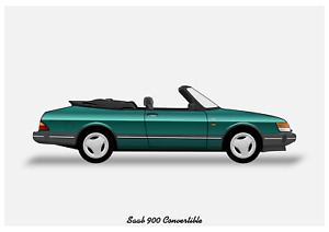 POSTER - SAAB 900 CONVERTIBLE - (A4 A3 A2 sizes) Art Print Car RENDER